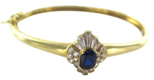 14KT Solid Yellow Gold Bracelet with Sapphires and white stones