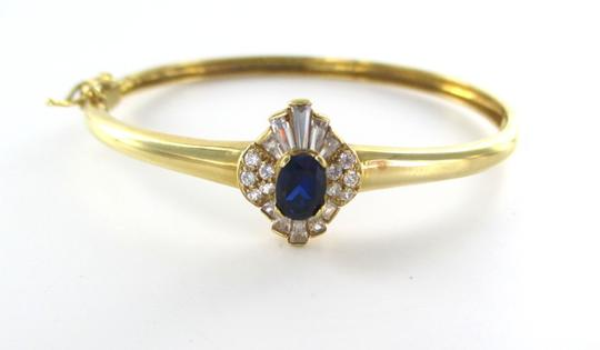 Other 14KT Solid Yellow Gold Bracelet with Sapphires and white stones