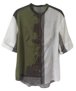 Jil Sander Graphic Sheer Abstract Light Button Down Shirt Multi-color