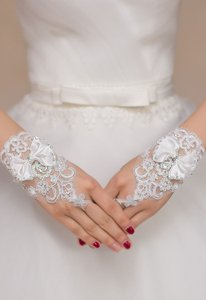 Satin Lace Sequin Bow Tie Wedding Gloves Free Shipping