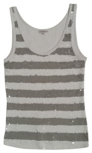 P.A.R.O.S.H. Sequin Jersey Top White and Grey
