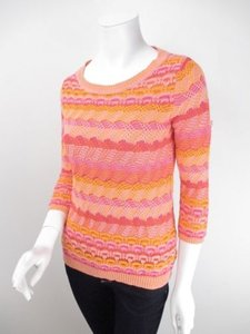 Anthropologie Sparrow Orange Pink Scallop Stitch Sweater