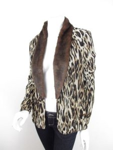 Chico's Leopard Cheetah Faux Fur Chiffon Cardigan Top Blouse 0 Brown, Black Jacket