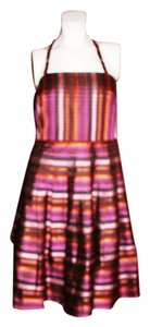 Kay Unger Halter Striped Silk Dress