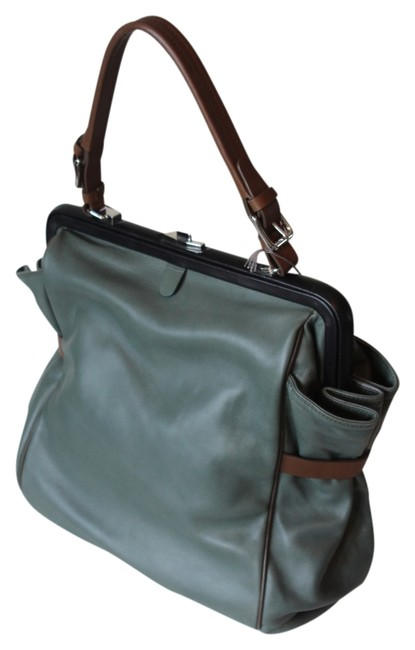 Marni Borsa Gray Green Leather Satchel Marni Borsa Gray Green Leather Satchel Image 1