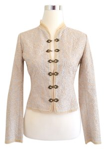 Elie Tahari Embroidered Light blue, Off white Jacket