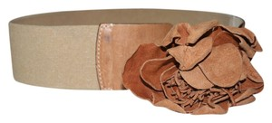Banana Republic Cognac Leather Belt with Leather Flower - Banana Republic M/L Italian Made
