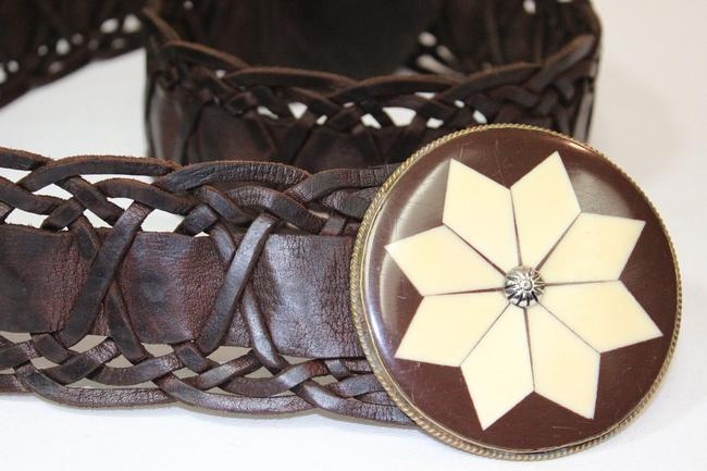 Brown Rare Moroccan Leather Woven Wide Belt Brown Rare Moroccan Leather Woven Wide Belt Image 1