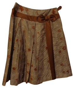 Sara Jane Silk Brown Skirt brown/cream