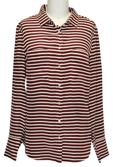 J.Crew Striped Collared Button-up T-shirt Silk Longsleeve Button Down Shirt Red