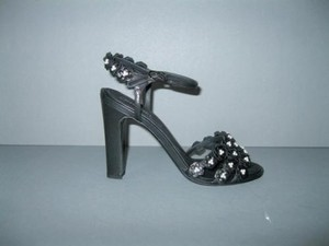 Chanel Camellia Pearl Black Sandals