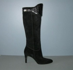 Gucci B Suede Croc Tall High Heel Knee Black Boots