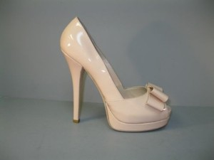 Fendi Nude Peep Toe Bow Blush Pumps