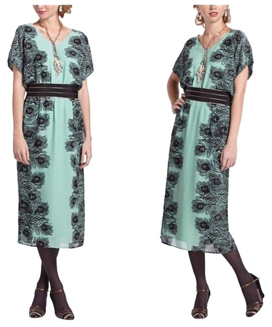 Item - Green with Feather Pattern Kimono Peacock Plumes Midi Dress/Corey Lynn Calter Mid-length Night Out Dress Size 0 (XS)