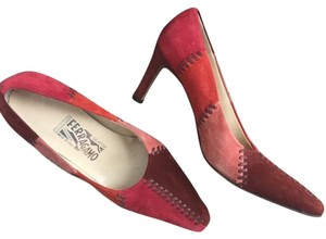 Salvatore Ferragamo Suede Pumps Platforms Heels Red Formal