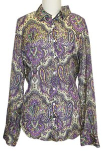 J.Crew Paisley Print Button-up T-shirt Woman Longsleeve Button Down Shirt Purple