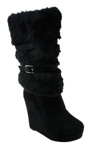 Unsensored Furry Boot Wedge Casual Black Boots