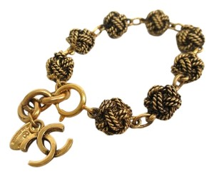 Chanel Chanel Vintage Gold Tone Twisted Ball CC Chain Link Bracelet