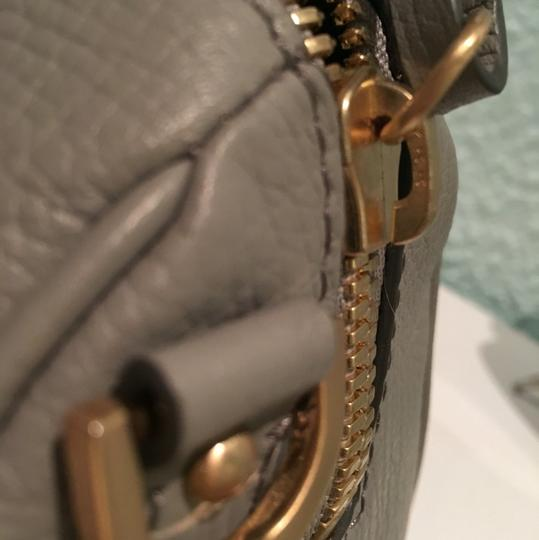 B Brian Atwood Sharon Mini Shoulder Strap Goatskin Leather Satchel in Grey