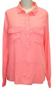 J.Crew Pullover Button-up Cotton Button Down Shirt Coral
