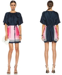 Band of Outsiders short dress Navy, Pink Silk Scarf Tunic Stripes Day on Tradesy