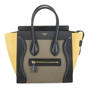 Céline Micro Luggage Leather Satchel in Vanilla