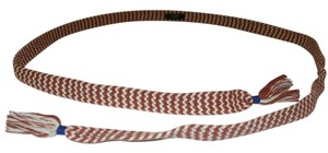 J.Crew J. Crew Rust and White Zig Zag Cotton Rope Belt