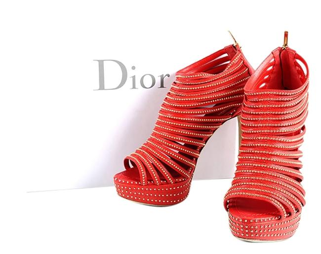Dior Red * Studded Strappy Platform Boots/Booties Size US 8 Regular (M, B) Dior Red * Studded Strappy Platform Boots/Booties Size US 8 Regular (M, B) Image 1