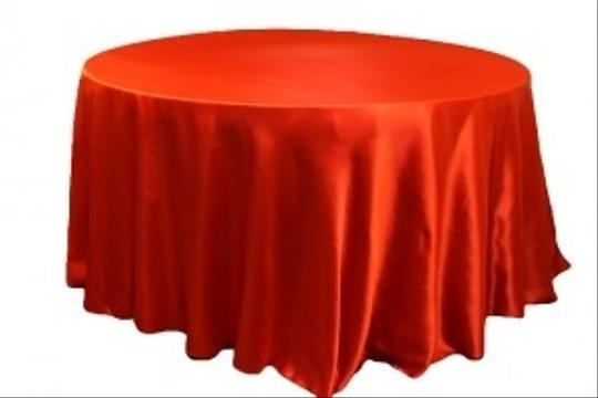 """Red 25 Pieces Of 132"""" Satin Table Linen"""