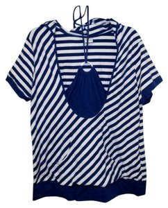 Venezia by Lane Bryant 1x 14/16 Short Sleeve Top Blue & White
