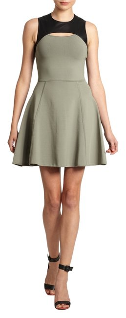 Preload https://img-static.tradesy.com/item/11372326/yigal-azrouel-army-green-and-leather-above-knee-workoffice-dress-size-4-s-0-1-650-650.jpg