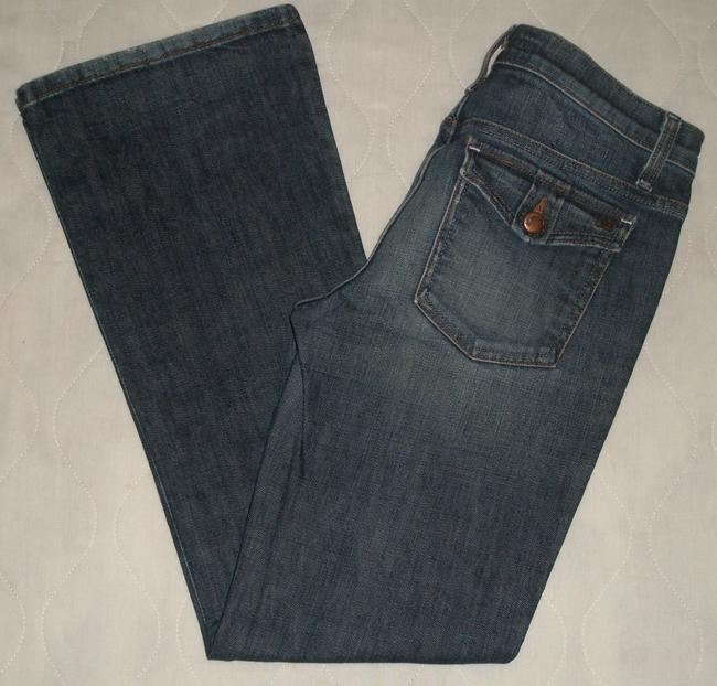 JOE'S Jeans Low Rise *zipper Fly *boot Leg Opening *coin & Back Flap Pockets *cotton/spandex *whiskering & Distressing Detail *: Boot Cut Jeans-Dark Rinse