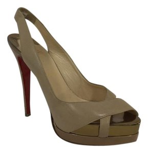Christian Louboutin Leather Tan Nude Heels Beige Platforms