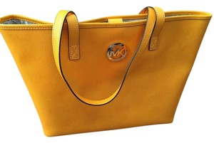 Michael Kors Saffiano Leather Tote in Vintage Yellow