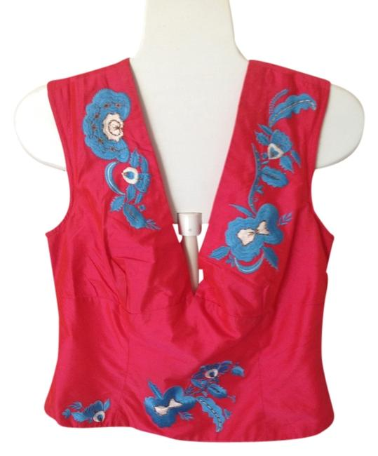 Preload https://item2.tradesy.com/images/french-connection-salmon-and-turquoise-v-neck-tunic-size-12-l-1137256-0-0.jpg?width=400&height=650