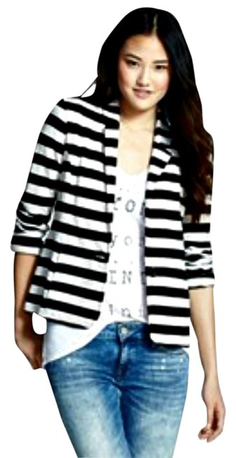 Preload https://item5.tradesy.com/images/caslon-black-and-white-stripe-knit-spring-jacket-size-2-xs-1137264-0-0.jpg?width=400&height=650