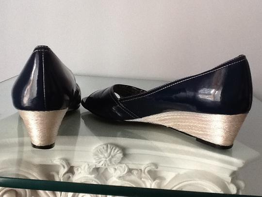 Anne Klein Peep Toe Patent Leather Navy Wedges Image 1