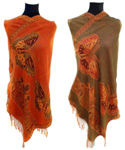 Double Sided Butterfly Design Pashmina Scarf Wrap Shawl Free Shipping