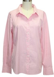 J.Crew Haberdashery Stretch Shirt Striped Button Up Collared Button Down Shirt Pink/Ivory