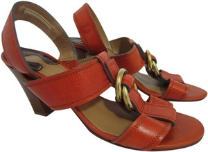 Chloé Leather Gold Orange Sandals