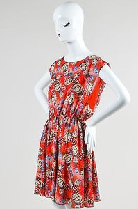 Alice + Olivia Red Silk Floral Dress