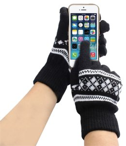 Black & White Knit Snowflake Knit Touch Screen Friendly Gloves Free Shipping