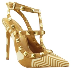Shoe Republic LA Studded Camel Pumps