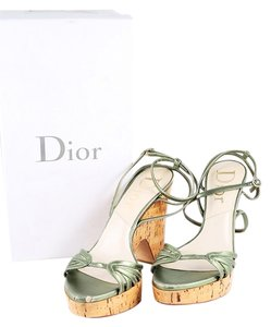 Dior Metallic Leather Cork Platform Wedge Green Sandals