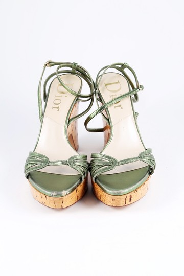 Dior Metallic Leather Cork Platform Wedge Green Sandals Image 1