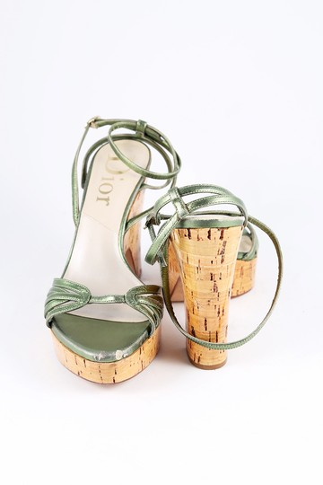 Dior Metallic Leather Cork Platform Wedge Green Sandals Image 2