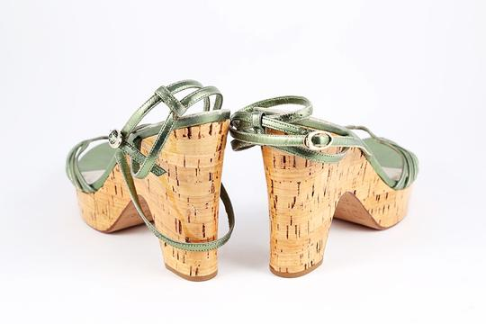 Dior Metallic Leather Cork Platform Wedge Green Sandals Image 5