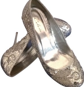 Celeste silver metallic PU Pumps