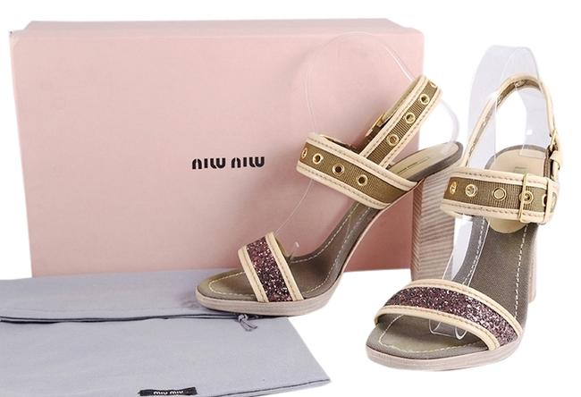 Miu Miu Green * Glitter Ribbon Cotto Sandals Size US 9 Regular (M, B) Miu Miu Green * Glitter Ribbon Cotto Sandals Size US 9 Regular (M, B) Image 1