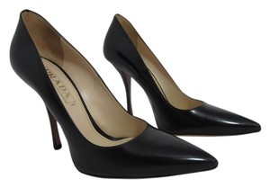 Prada Leather Pointed Toe Heel Black Pumps